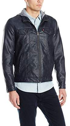 Levi's Men's Buffed Cow Faux Leather Stand Collar Trucker with Hood