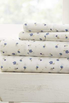 IENJOY HOME Home Spun Premium Ultra Soft Floral Pattern 4-Piece Full Bed Sheet Set - Light Blue