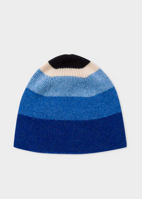 Paul Smith Women's Blue Striped Wool Beanie Hat