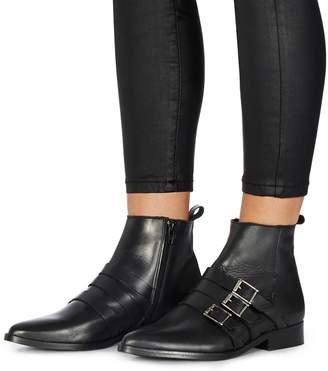 Faith Black Leather 'Bernie' Ankle Boots