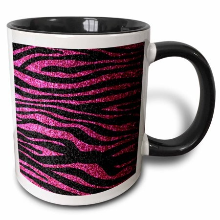 3dRose Hot Pink and Black Zebra print Faux bling photo Not Actual Glitter fancy diva girly sparkly sparkles - Two Tone Black Mug, 11-ounce