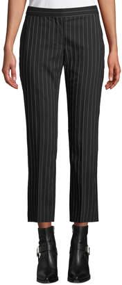 Alexander McQueen Pinstripe Stretch-Wool Cropped Cigarette Trousers