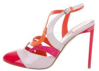 Christian Dior Patent Leather Colorblock Sandals w/ Tags