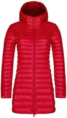 Yeokou Women's Packable Lightweight Quilted Long Hoodie Down Puffer Jacket Coat