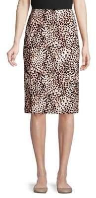 Lord & Taylor Petite Leopard-Print Pencil Skirt