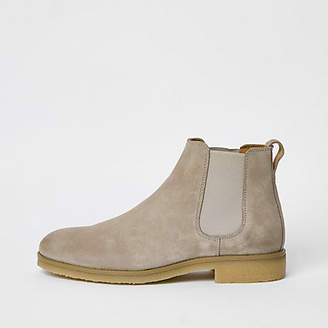 River Island Stone wide fit suede chelsea boots