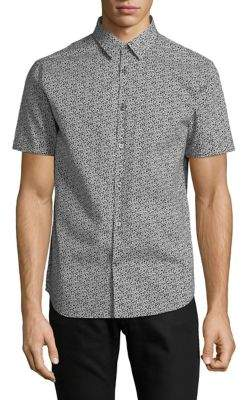 John Varvatos Printed Short-Sleeve Cotton Sport Shirt