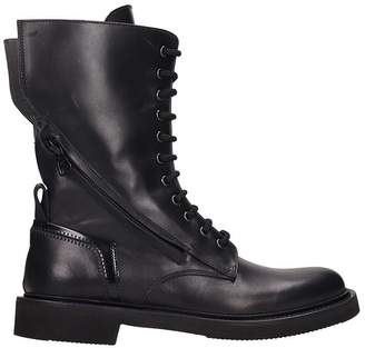 Bruno Bordese Black Leather Combat Boots