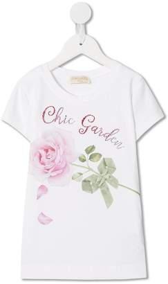 MonnaLisa Chic Garden rhinestone T-shirt