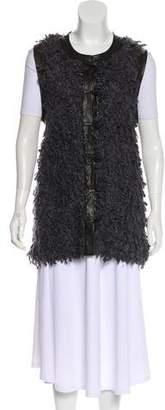 Rag & Bone Leather-Trimmed Knit Vest