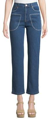 See by Chloe Stitched Straight-Leg Ankle Jeans