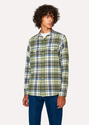 Paul Smith Men's Classic-Fit Green Check Patch-Pocket Shirt