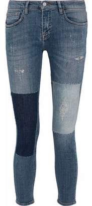 Victoria Beckham Victoria Cropped Distressed Patchwork Low-Rise Skinny Jeans