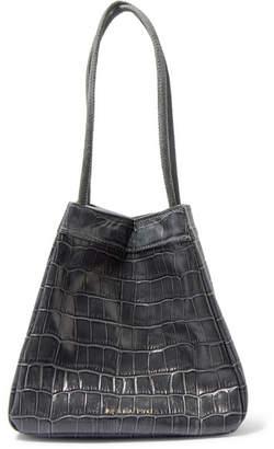 REJINA PYO Rita Small Croc-effect Leather Bucket Bag - Gray
