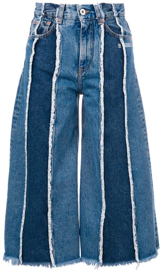 patchwork cropped jeans
