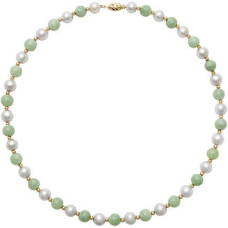 JCPenney FINE JEWELRY 14K Yellow Gold Cultured Freshwater Pearl & Dyed Green Jade Necklace