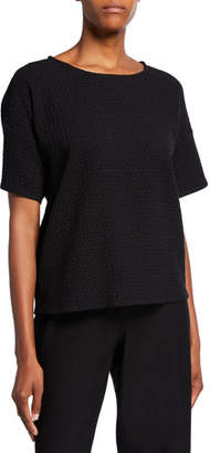 Eileen Fisher Chevron Elbow-Sleeve Sweater