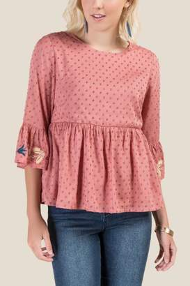 francesca's Pia Embroidered Peplum Blouse - Rose