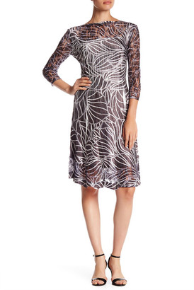 KOMAROV Long Sleeve Printed Fit & Flare Keyhole Dress $278 thestylecure.com