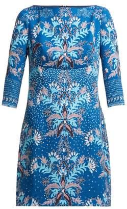 Peter Pilotto Floral Print Waffle Weave Satin Mini Dress - Womens - Blue Multi