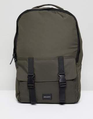 Asos Design DESIGN backpack in khaki with double strap pocket