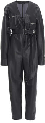 Sally LaPointe Belted Faux Leather Tapered Jumpsuit Size: 4