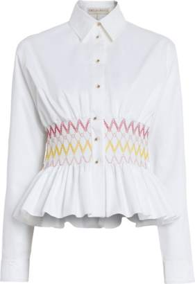 Emilio Pucci Button Down Top With Smocking Detail