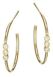 Chicco Zoe Women's Small 14K Yellow Gold & Diamond Bezel Hoop Earrings