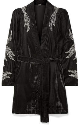 Dodo Bar Or - Bead-embellished Velvet Jacket - Black