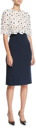 Oscar de la Renta Floral-Lace Popover Top & Solid Crepe Skirt Knee-Length Day Dress