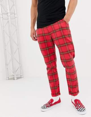 Asos Design DESIGN tapered pants in red tartan