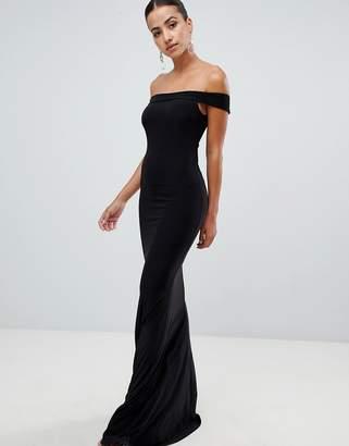 Club L bardot fishtail maxi dress