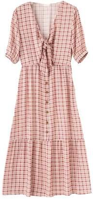 Goodnight Macaroon 'Helen' Front Tied Plaid Maxi Dress