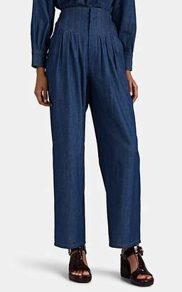 Colovos Women's Chambray High-Waist Pleated Pants - Blue