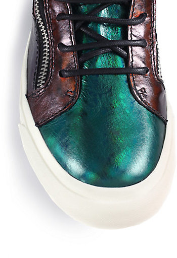 Giuseppe Zanotti Patchwork Metallic Leather High-Top Sneakers