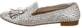 pradaPrada Metallic Leather Woven Loafers