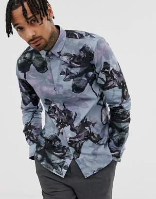 Twisted Tailor super skinny shirt in large floral print