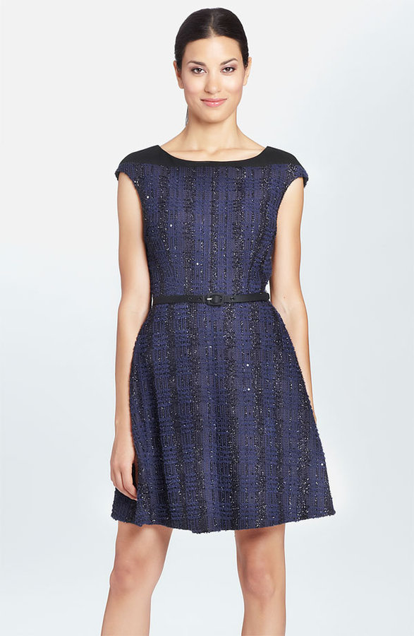 Cynthia Steffe 'Greta' Belted Boucle Fit & Flare Dress
