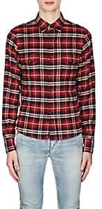 Saint Laurent Men's Plaid Flannel Western Shirt-Red