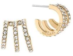Michael Kors (マイケル コース) - Michael Kors Modern Brilliance Crystal Pave Huggie Earrings/Goldtone