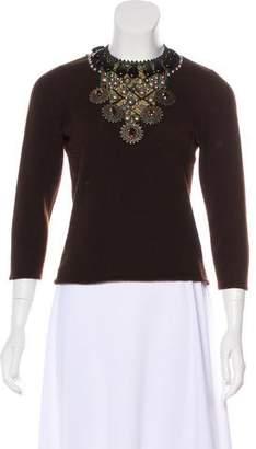 Oscar de la Renta Cashmere Embellished Sweater
