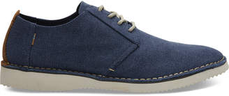 Navy Washed Canvas Stitch Out Mens Preston Dress Shoes