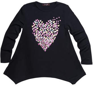 Imoga Multicolor Sequin Heart Graphic Jersey Tunic, Size 7-14