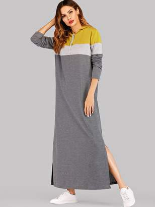 Shein Color-block Split Side Hoodie Sweatshirt Dress