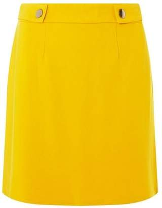 Dorothy Perkins Womens Ochre Side Popper Mini Skirt