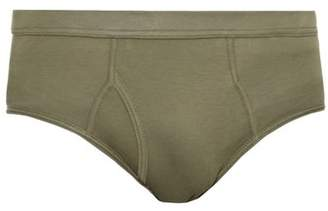 The White Briefs - Platan Cotton Jersey Briefs - Mens - Green