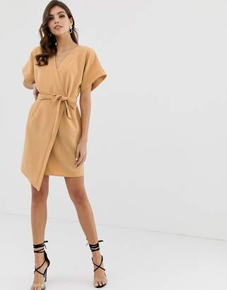 Asos Design DESIGN wrap front mini dress