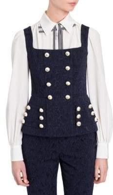 Dolce & Gabbana Sleeveless Jacquard Buttoned Peplum Top