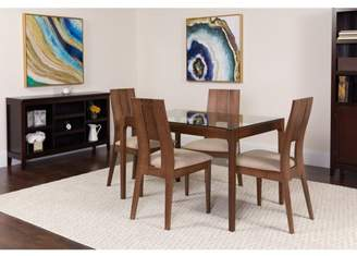Flash Furniture Winslow 5 Piece Walnut Wood Dining Table Set with Glass Top and Curved Slat Keyhole Back Wood Dining Chairs - Padded Seats
