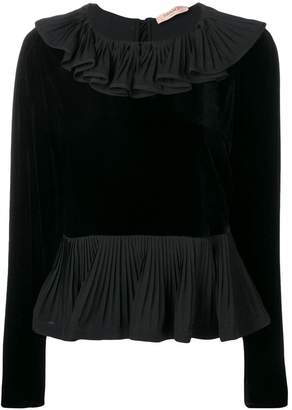 Twin-Set ruffled collar silk blouse